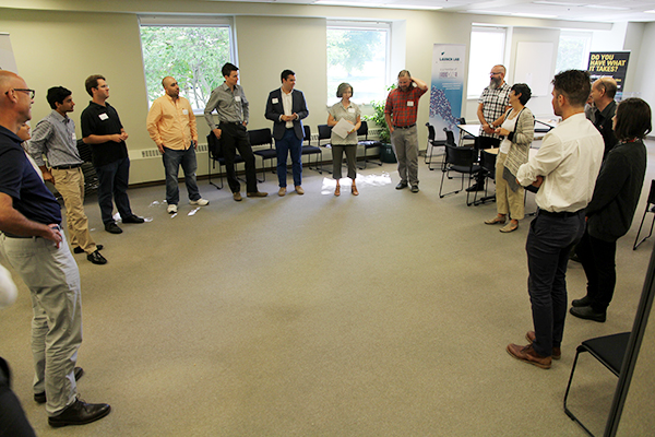 Members of the fourth cohort of GrindSpaceXL-Kingston take part in an ice-breaker exercise during orientation for the 12-week accelerator program at Innovation Park.