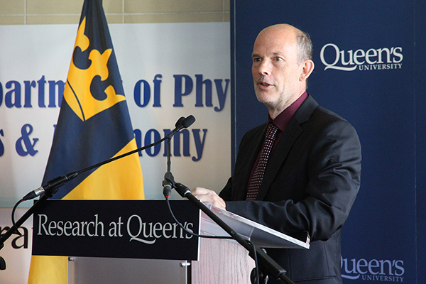 Tony Noble, Interim Director of Canadian Particle Astrophysics Research Centre (CPARC), speaks at Queen's University's Stirling Hall during the funding announcement on Tuesday. (University Communications)