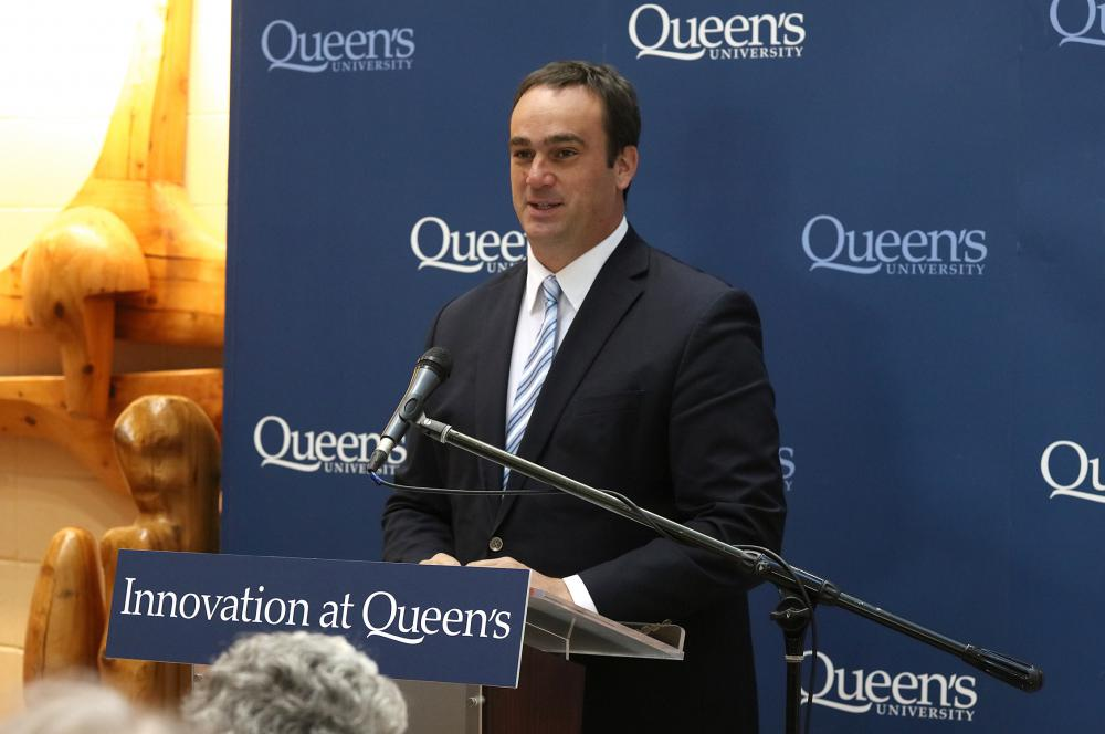 Member of Parliament Mark Gerretsen announces that Queen's will receive $31 million from the Government of Canada's Post-Secondary Institutions Strategic Infrastructure Fund on October 11, 2016. (Photo Credit: Bernard Clark)