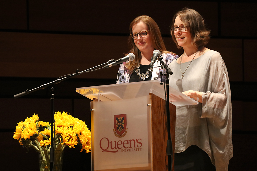 "Erin Clow, Ban Righ Foundation co-chair and Queen's Equity Advisor, and Carole Morrison, Director of the Ban Righ Foundation, greet attendees to ""Inspiring Women, an evening at the Isabel."" (Photo Credit: Bernard Clark)"