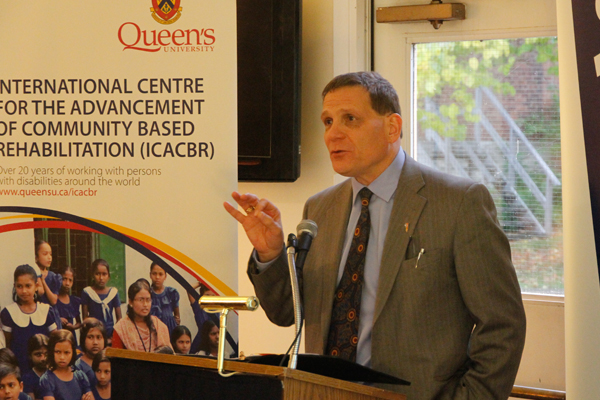 Principal Daniel Woolf speaks at the 25th anniversary celebration for the International Centre for the Advancement of Community Based Rehabilitation (ICACBR)