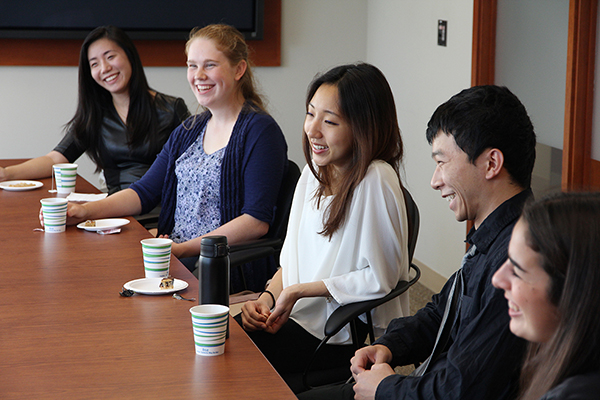 Queen's Schulich Leader Scholarship winners sat down with Principal Daniel Woolf for a personal talk on Friday, Oct. 7. From left: Sophia Miao; Sandra Smeltzer; Sandra Chan; Henry Tung; and Isabel Hazan.