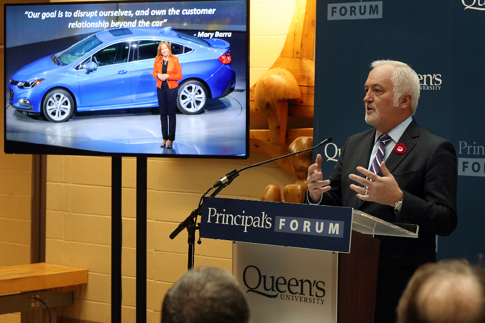 Steve Carlisle, General Motors Canada President and Managing Director, addresses members of the community in Beamish-Munro Hall on the future challenges and opportunities in the auto industry at the Principal's Forum on Nov. 11, 2016. (Photo Credit: Bernard Clark)