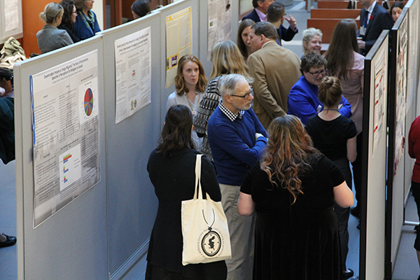 Students who took part in the 2016 Undergraduate Student Summer Research Fellowship (USSRF) program explain their research projects during the poster display.
