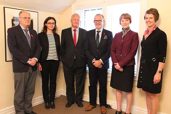 German Consul General in Toronto Peter Fahrenholz, third from left, visited Queen's on Nov. 3 to discuss research opportunities and student exchanges. Attending a luncheon with him were, from left: Hugh Horton, Interim Vice-Dean, Faculty of Arts and Science; Alexandra Gerstner, director, German Academic Exchange Service; Steven Liss, Vice-Principal (Research); Cynthia Fekken, Associate Vice-Principal (Research); and Kathy O'Brien, Associate Vice-Principal (International).