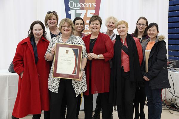 Sandra Murray, Program Coordinator, Centre for Teaching and Learning, celebrates with her colleagues after receiving a Special Recognition for Staff Award.