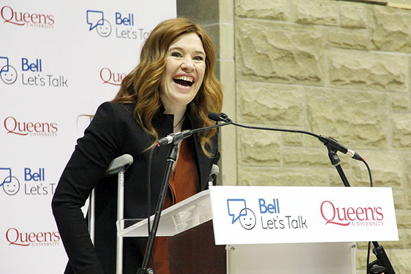 Clara Hughes speaks at Tuesday's announcement of a $1 million gift from Bell to Queen's to renew the Bell Canada Mental Health and Anti-Stigma Research Chair.