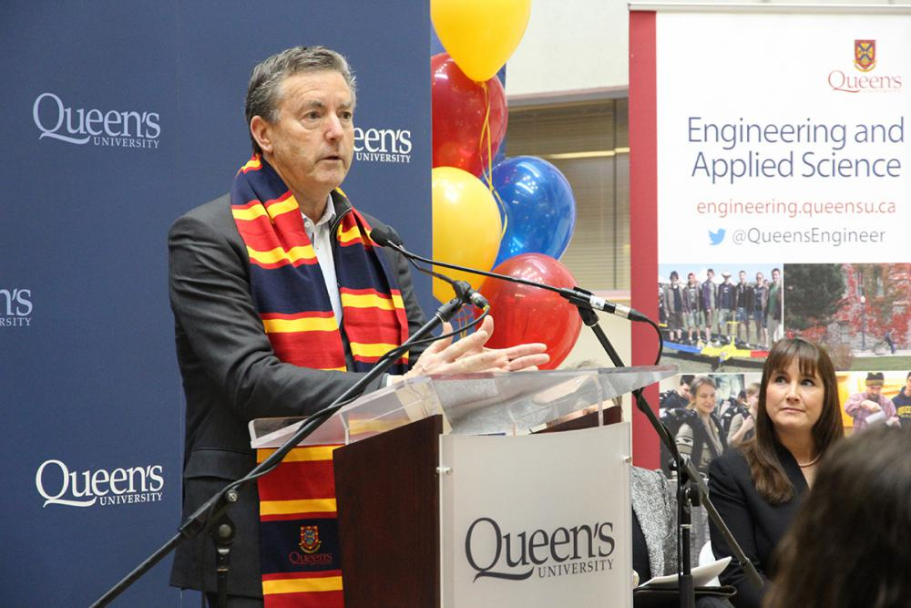 Ross J. Beaty talks about the reasons that he and his family have presented Queen's University with a $5-million gift to support collaborative research and education in the field of freshwater resources during the announcement event Friday at Beamish-Munro Hall. (University Communications)