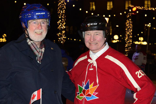 Queen's Professor Emeritus Art McDonald and His Excellency the Right Honourable David Johnston, Governor General of Canada, lace up the skates in Sweden. Dr. McDonald accompanied the Governor General to Sweden during a State Visit from Feb 19-23. (Photo Credit: Rideau Hall)