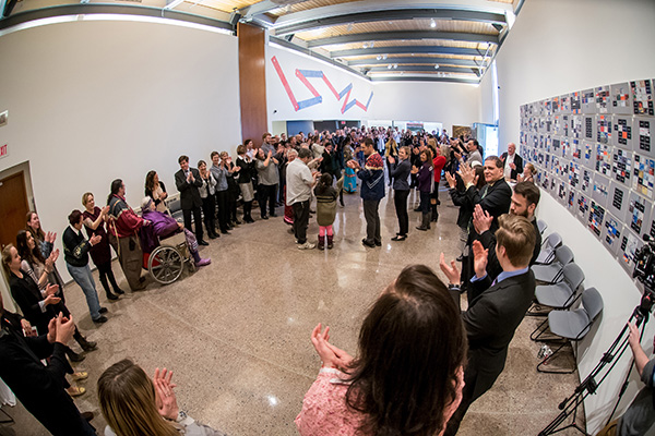 Members of the Queen's community perform a Haudenosaunee round dance at the event marking the release of the Queen's Truth and Reconciliation Commission Task Force's Report and Recommendations. (Photo by Garrett Elliott)