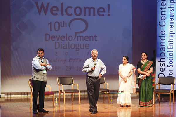 The Dunin-Deshpande Queen's Innovation Centre (DDQIC) recently led a delegation of students to attend the Development Dialogue 2017 Conference in Hubballi, India. The social innovation conference is hosted by the foundation created by Gururaj and Jaishree Deshpande.