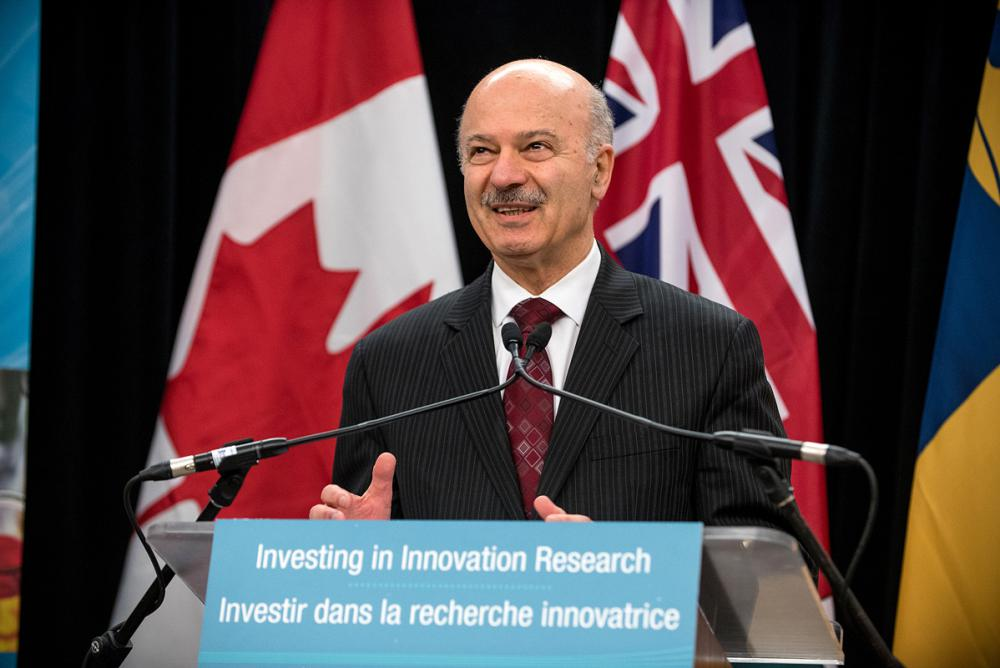 The Honorable Reza Moridi, Minister of Research, Innovation and Science, announces that four Queen's researchers would receive a combined $4.5 million in research funding from the Ontario Research Fund – Research Excellence and Research Infrastructure programs. (March 14, 2017. Photo Credit: Garrett Elliott)