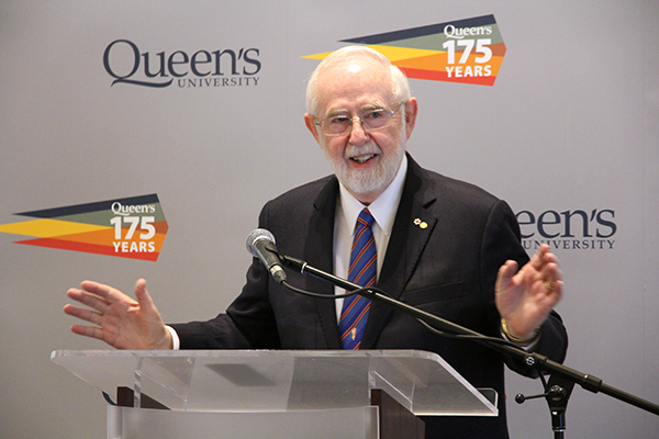 Nobel Laureate and Professor Emeritus Art McDonald helps open the New Eyes on the Universe exhibit on Friday, May 26. The exhibit is open to the public at the Agnes Etherington Art Centre from May 27-July 7.