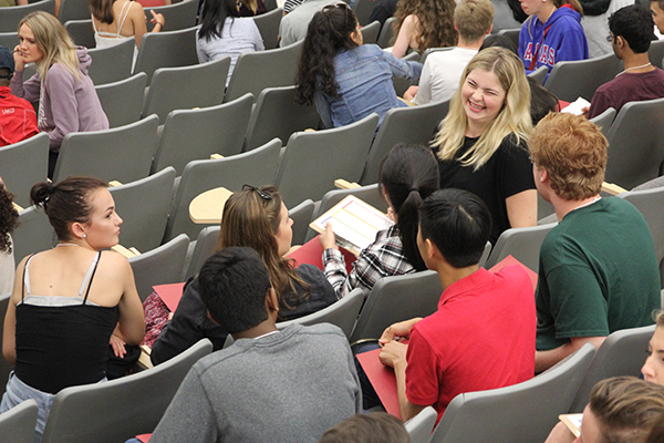 Students get to know each other and ask questions during the 'Introduction to Student Life' session hosted at the Humphrey Hall Auditorium on Thursday.