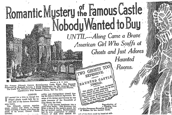 """One of the first documented stories claiming that the castle was haunted, from a Utah newspaper in 1930. The castle's new American owners reportedly """"scoffed at ghosts"""" and """"adored haunted rooms"""". (Supplied Photo)"""