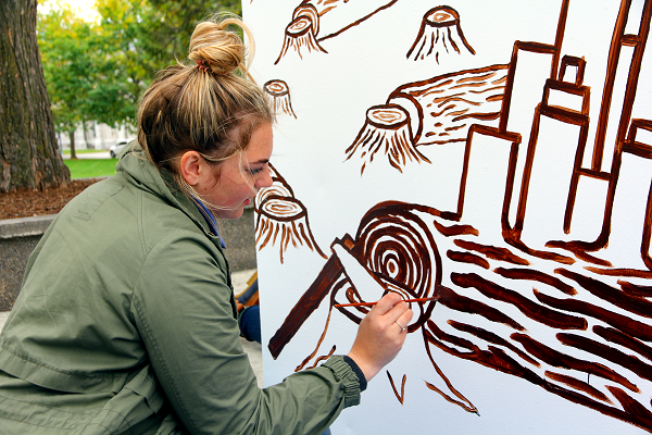 Julia Fast-Grass (Artsci'20) imagines a forest without trees. (University Communications)