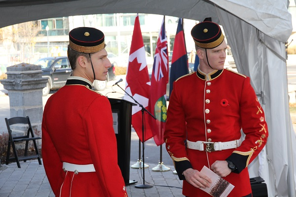Royal Military College Officer Cadets Malcolm Madower and Andrew Haves, future combat engineers, were among the current military representatives at the Remembrance Day unveiling. (University Communications)