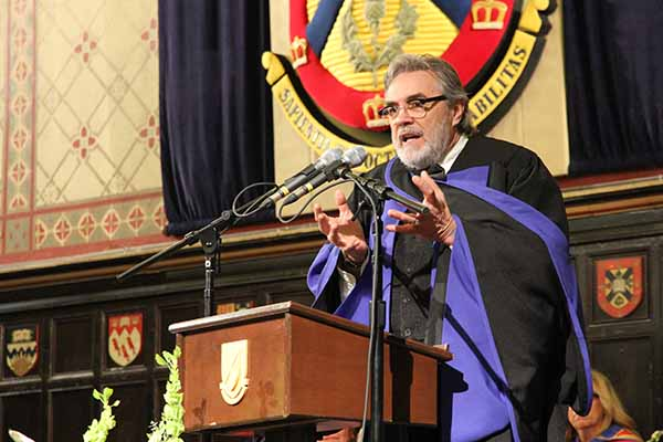 David Bouchard, an award-winning Métis author and long-time educator, delivers his speech after receiving an honorary degree from Queen's on Thursday, Nov. 16.