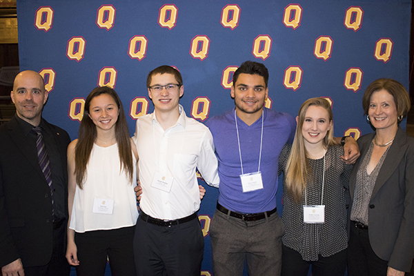 Provost and Vice-Principal (Academic) Benoit-Antoine Bacon, left, and Vice-Provost and Dean of Student Affairs Ann Tierney helped recognize Nixon Academic Leadership Award winners, from second left: Erin Lee, Sam Dobbin, Ejaz Causer, Emily Gervais.