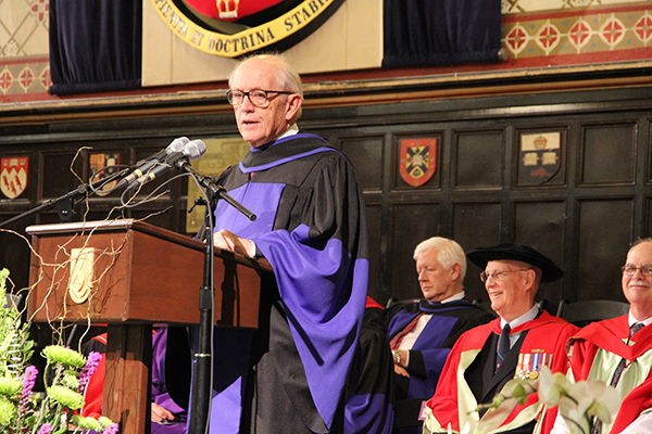 John Rae, former chair of the Queen's Board of Trustees and former executive assistant and national campaign chair for the Right Hon. Jean Chrétien, delivers his speech after receiving an honorary degree from Queen's.