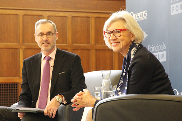 Chief Justice Beverley McLachlin, the first female and longest-serving chief justice of the Supreme Court of Canada, answered questions from Bill Flanagan, Dean, Faculty of Law, during Monday's Principal's Forum.