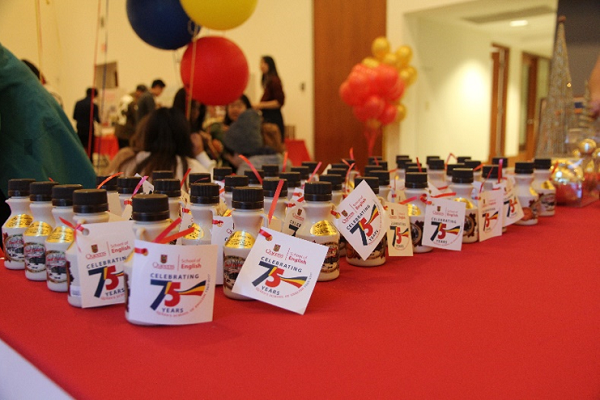 Maple syrup party favours greet guests as they enter the event.