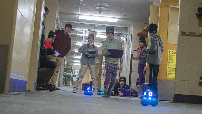 Quinte Mohawk School students program code into tablets, which control these robots as part of an after-school robotics club called Codemakers. (Supplied Photo)
