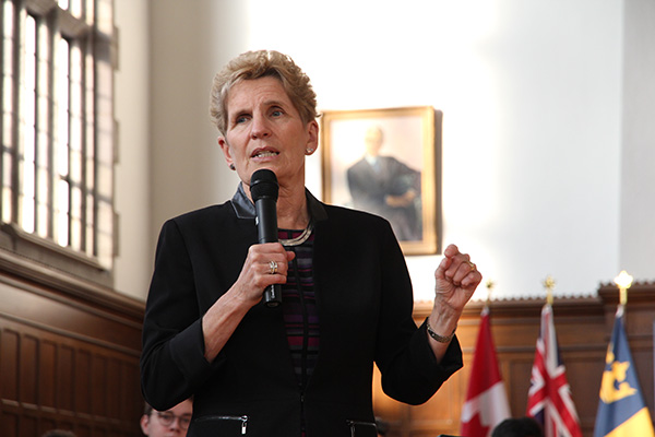 Premier Kathleen Wynne visited Queen's University on Wednesday, Feb. 14 and took part in a town hall meeting with students in Wallace Hall.