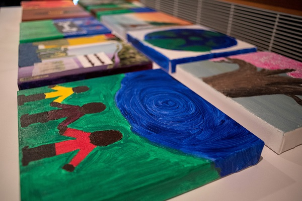 On Friday afternoon, members of the community met at the Agnes to create art designed to inspire a visual response to the Truth and Reconciliation Task Force report's recommendations. (Photo by Garrett Elliott)