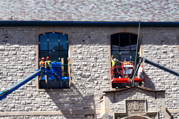 A construction team works on renovations to Mitchell Hall (Photo: PPS)