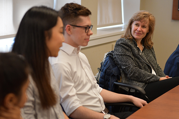 Schulich Leader Scholars speak with Karen Bertrand, Vice-Principal (Academic).