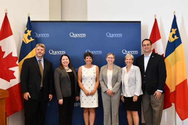 Announcement speakers: Jim Banting, Queen's Assistant Vice-Principal (Partnerships and Innovation); Shyra Barberstock, Okwaho Equal Source; Lisa Hallsworth, Rillea Technologies; Christa Wallbridge, The Power Collective; Kimberly Woodhouse, Queen's Vice-Principal (Research); Mark Gerretsen, Member of Parliament - Kingston and the Islands.