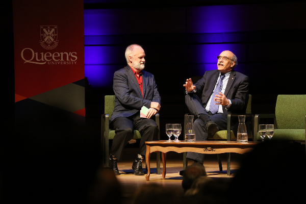 Acclaimed journalist and author André Picard (left) interviews Nobel Laureate Martin Chalfie during the Nobel Prize Inspiration Initiative event at Queen's University. (Photo by: Bernard Clark)