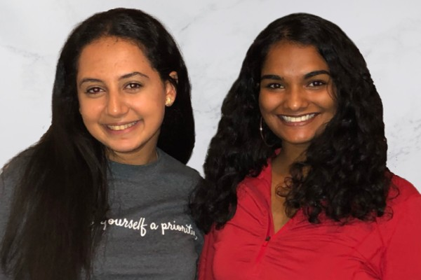 Photograph of Miriam John (BAH'22) (right) with Nominator Mariam Atnasious HBSc'21 (left)