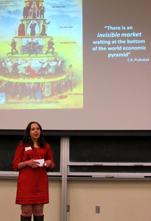 [Joanne Linnay presents at Queen's Three Minute Thesis competition.]