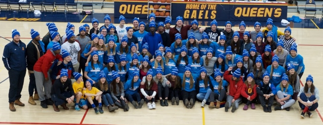[Student-athletes sport Bell Let's Talk toques]