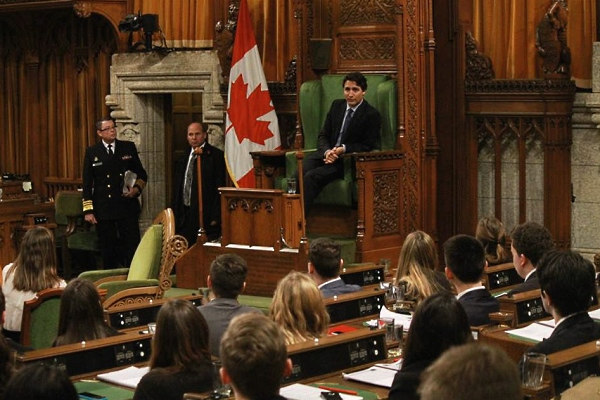 PM Justin Trudeau serves as Speaker during QMP in 2016]