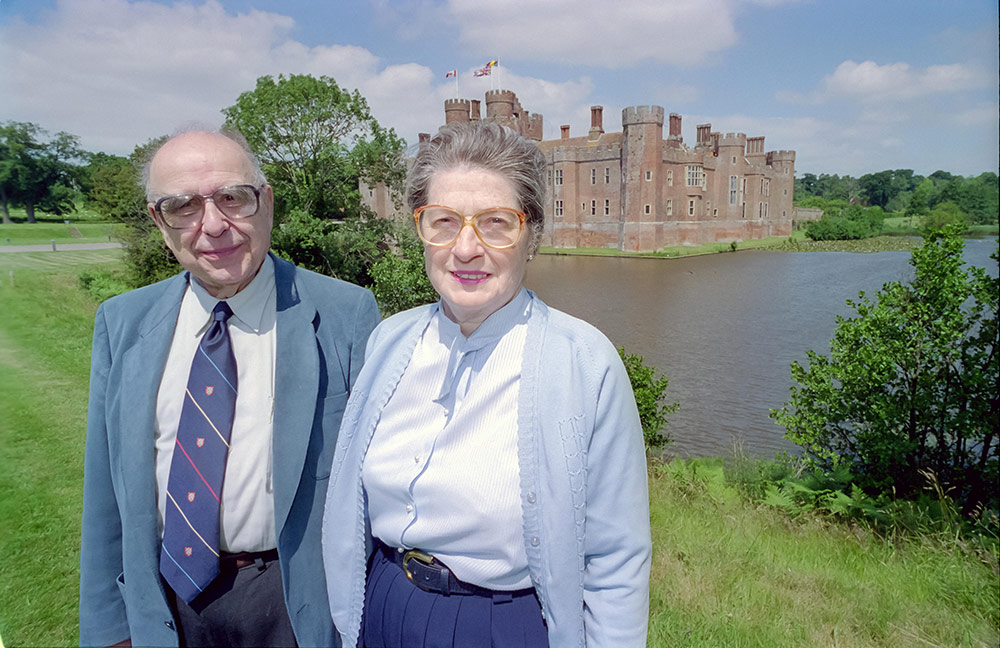 [Alfred and Isabel on the grounds of Herstmonceux Castle]