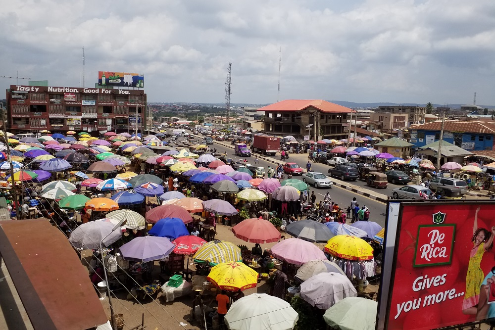 [Aerial photograph of the Adelabu Market in Ibadan, Nigeria]