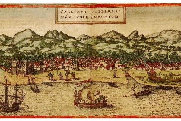 "Image of an etching titled ""Calechut Celeberri Mum India Emporium"" depicting an Indian trading port."