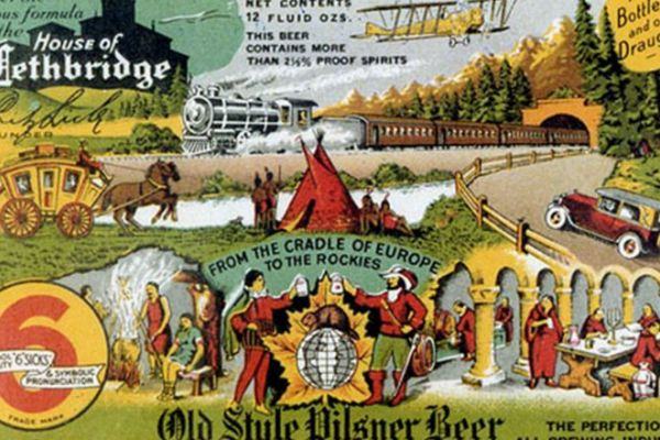 Image of an old ad for Molson Old Style Pilsner Beer featuring stereotypical Canadian scenes
