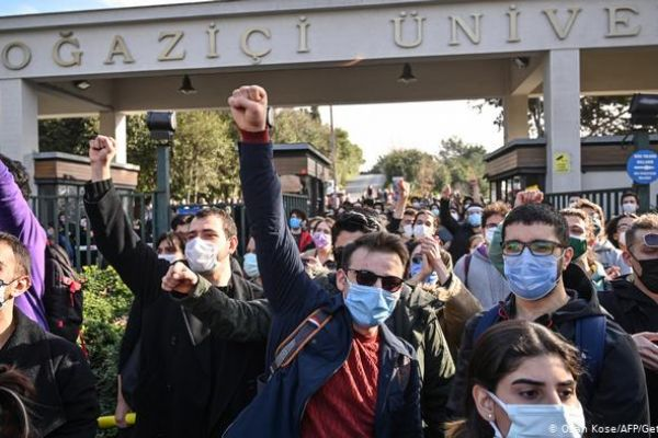 Image of a student protest outside of Bogazici University