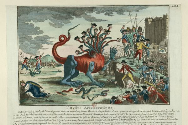 "An archival document from 1697 titled ""L'hydre Aristocratique"" depicting a battle between the victors of the Bastille against a monstrous hydra."