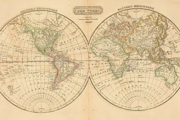 Image of an old map of the world separated by Western Hemisphere and Eastern Hemisphere