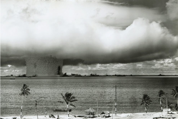 Black and white image an underwater explosion during Nuclear Testing at Bikini Atoll, 1946