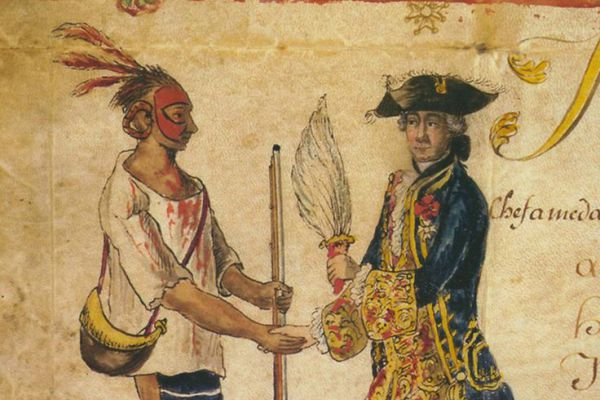 Image of a sketch of an Indigenous person making a trade with a French colonist