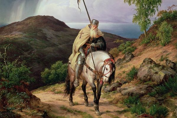 Image of a painting of an elderly crusader on horseback