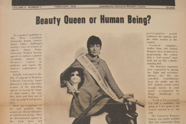 "Image of a newspaper article from 1970 titled ""Beauty Queen or Human Being?"" featuring a photo of a woman."