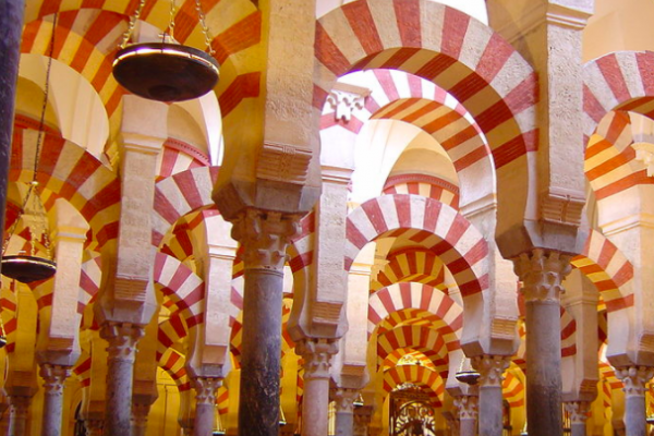 A photo of the interior of the Mosque of Cordoba