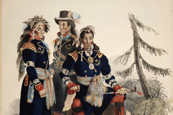 A drawing of Three Chiefs of the Huron Indians, Residing at La Jeune Lorette from 1825 by Charles Joseph Hullmandel